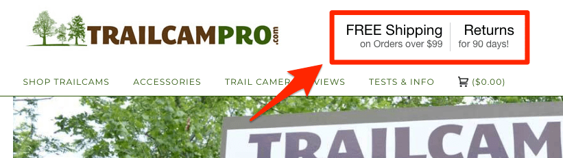 eCommerce free returns: TrailCamPro offers free returns for 90 days