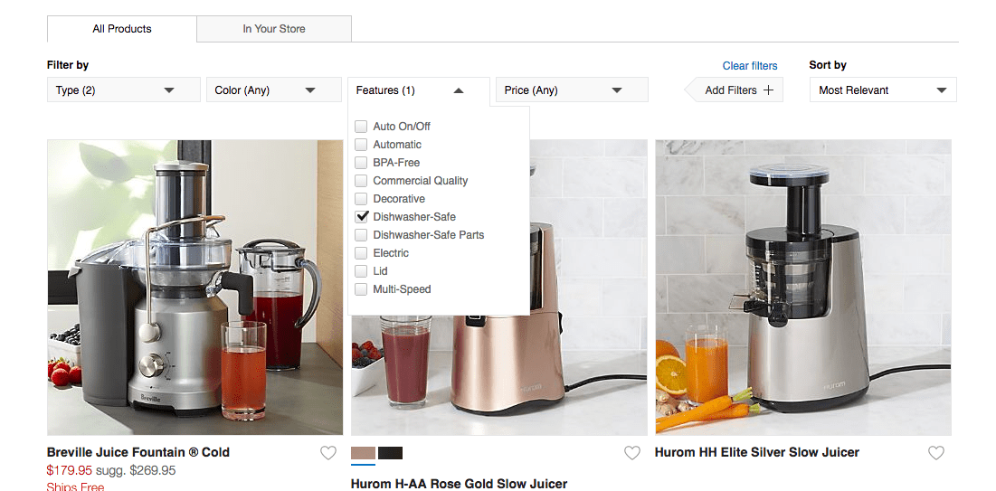 """Desktop screenshot with a horizontal row at the top of the page titled """"Filer by""""  followed by four dropdown options: Type, Color, Features, Price."""