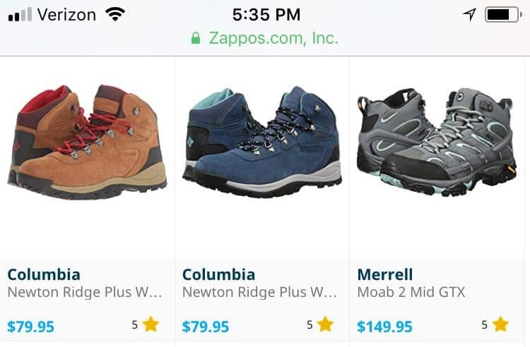 Zappos.com mobile screenshot. Three products, each has a 5 star rating, but number of reviews is not included.
