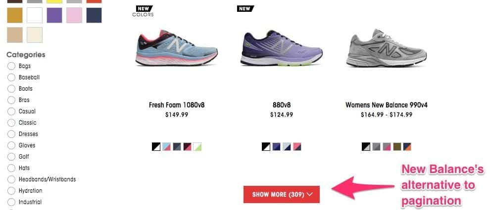 """New balance gallery page displaying products. Beneath the products, a button is labeled """"show more (309)"""" with a down arrow. The button is labeled New Balance's alternative to pagination."""