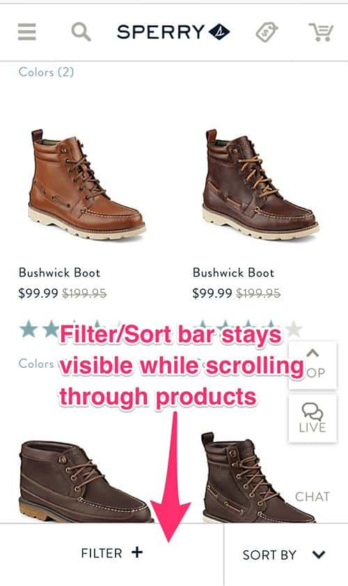Sperry Mobile site displays a vertical column of products. The filter and sort by bar is above two of the products. An arrow pointing to the bar is labeled: Filter/sort bar stays visible while scrolling through products.