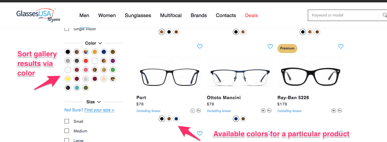 Glasses U S A desktop site of glasses in a product gallery. Beneath each pair of glasses is a row of color choices labeled: Available colors for a particular product. On the left side of the screen are sort sections. One section is labeled color with 27 color choices. An arrow pointing to the section is labeled Sort gallery results via color.