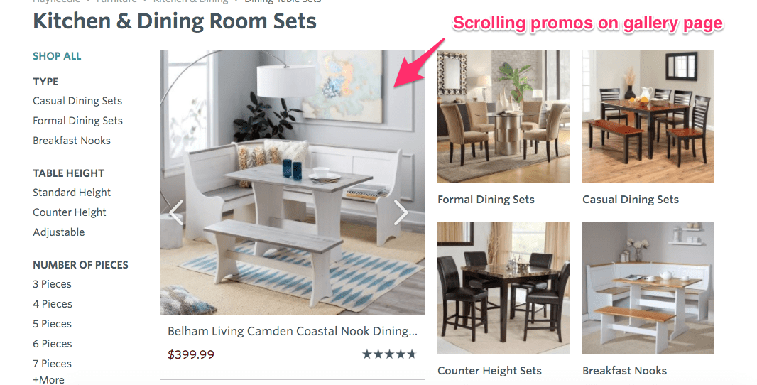 Desktop website titled Kitchen & Dining Room sets. On the right are four types of Dining sets. On the left is an options menu. Between the two is a carousel of products labeled: Scrolling promos on gallery page.
