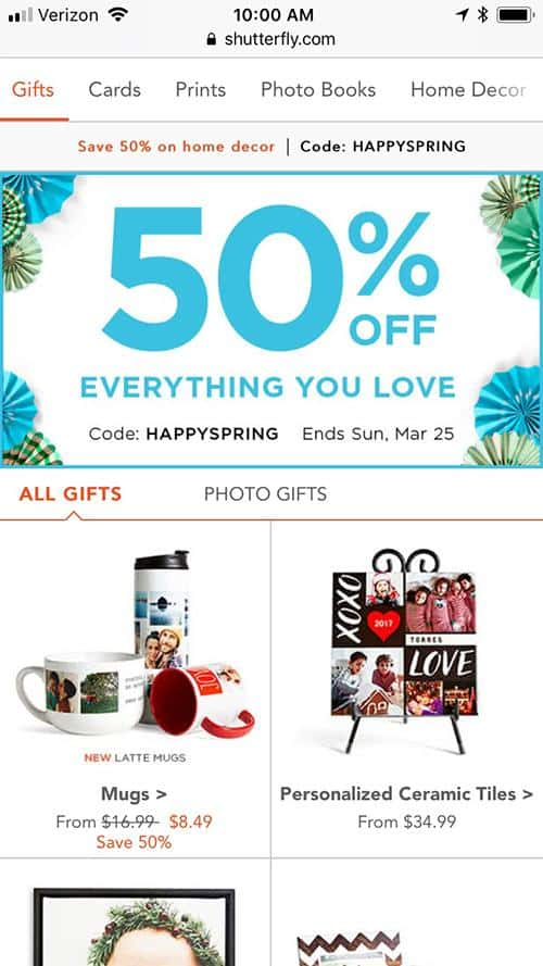 Shutterfly.com mobile screenshot. Above the products gallery a banner with the text: 50% off everything you love.