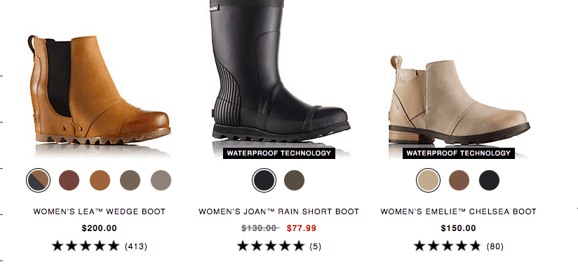 Three products in a product gallery. Each has a star rating and the number of reviews.