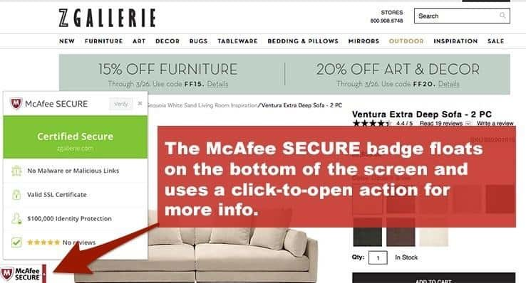 McAfee Trust Seal used on Z Gallerie Website