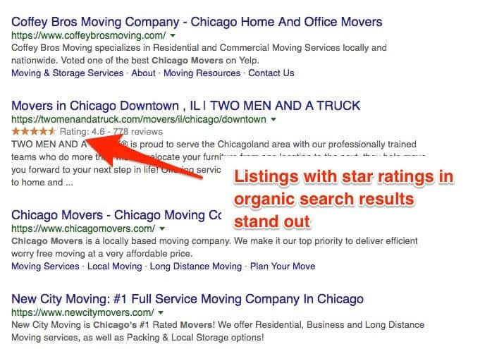 eCommerce SEO: Get star ratings in organic searches