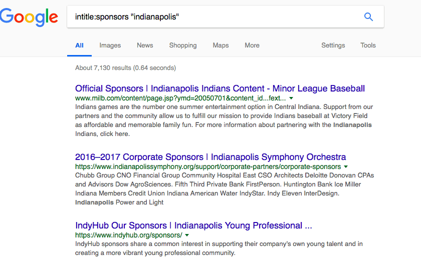 """Three Google Search result organizations for intitle:sponsors """"Indianapolis"""" as follows: Minor League Baseball, Indianapolis Symphony Orchestra, Indianapolis Young Professional?."""