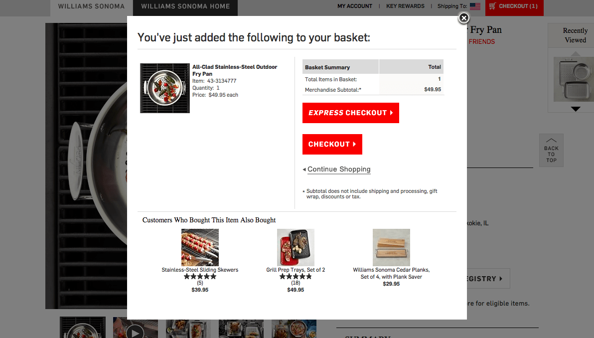 eCommerce cart: Pop-ins allow for easier cross-selling options.