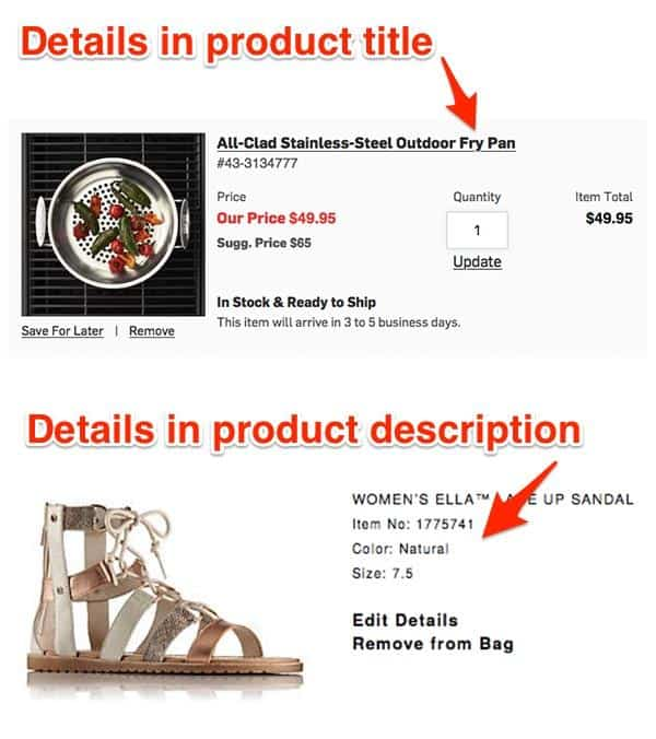 The cart provides details in the product title and product description.