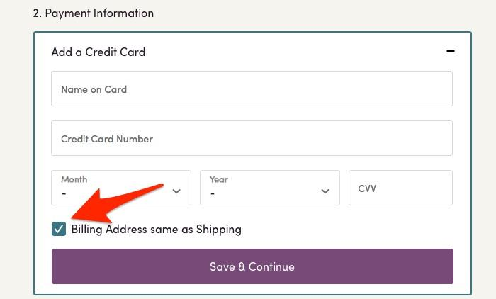 Shipping and Billing Address are Auto Filled In