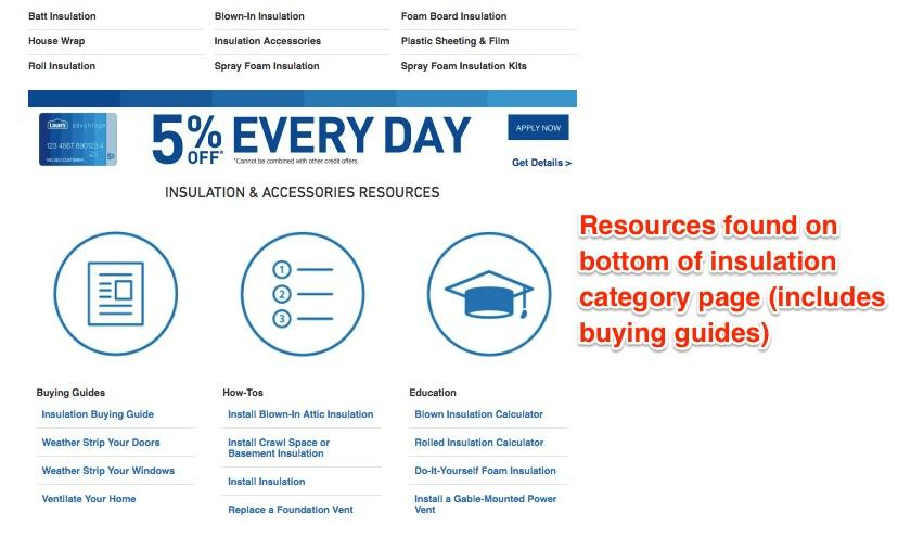 An example of the resources found on bottom of insulation category page (includes buying guides).