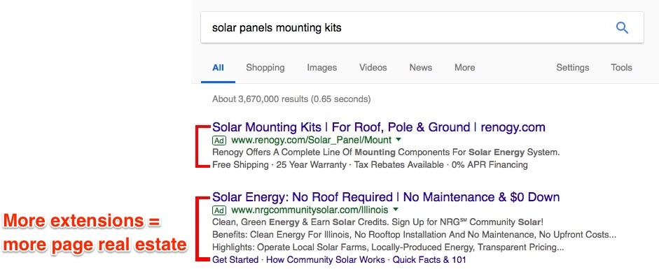 eCommerce Ads: Proof that more extensions = more page real estate