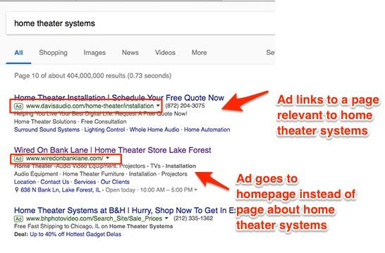 An example of how to make headings and click-through URLs campaign- or product-specific