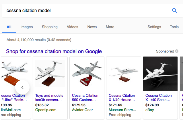 "Cost Per Acquisition Google Shopping: A sample of what appears in a Google search for ""Cessna Citation Model"""