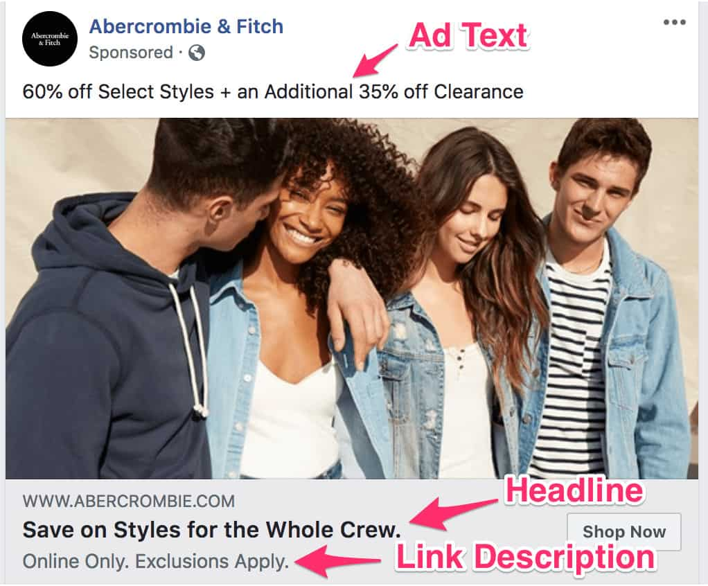 "eCommerce Facebook Ads: How we define ""ad text"", ""headline"" and ""link description"""