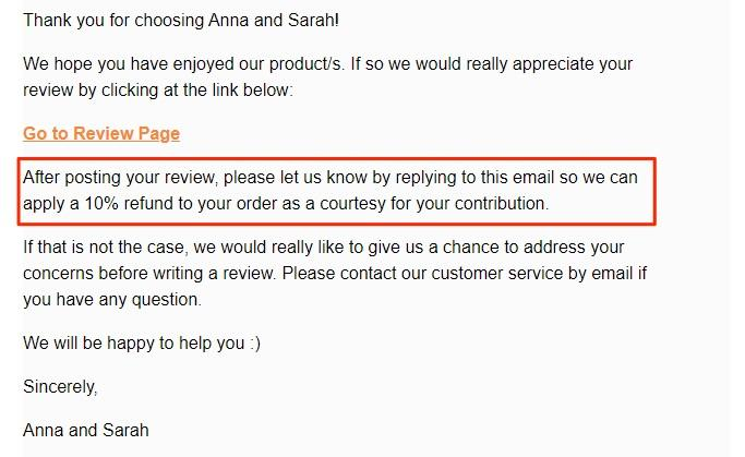 Offering your customer a discount in exchange for an ecommerce product review nurtures customer loyalty as shown in the image above from Anna and Sarah