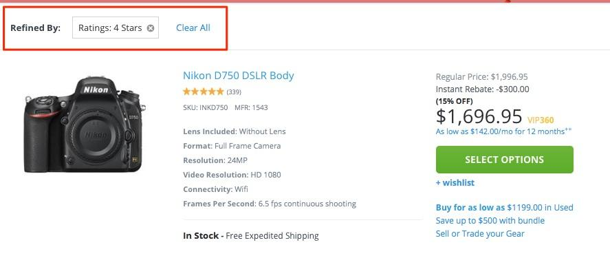 Displaying the star ratings on your gallery pages works on your site if you have a significant amount of positive reviews as shown above for the Nikon D70 DLSR Body Camera.
