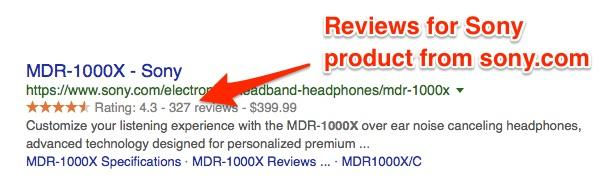 eCommerce product reviews boost your site authority and add transparency around your products as shown here in a review for a product from sony.com
