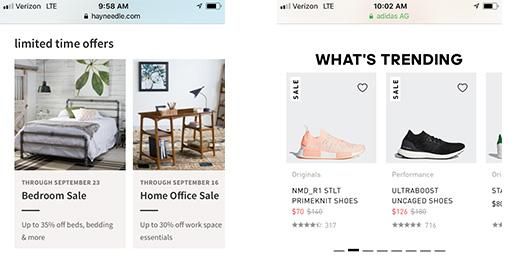 Mobile eCommerce: Merchandise is shown on homepage