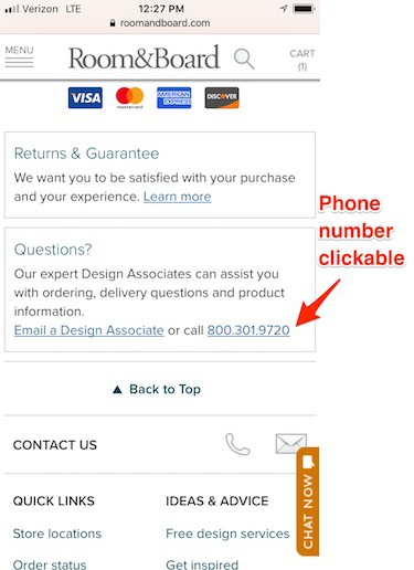 Mobile eCommerce: Make your phone number clickable.