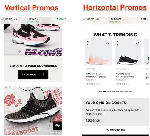 Mobile eCommerce: Vertical and horizontal promos