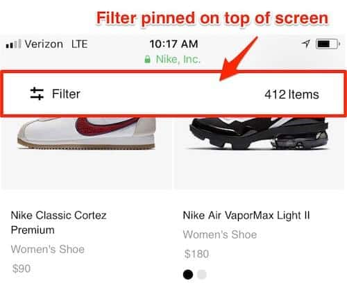 Mobile eCommerce: Filter pinned on the top of the screen