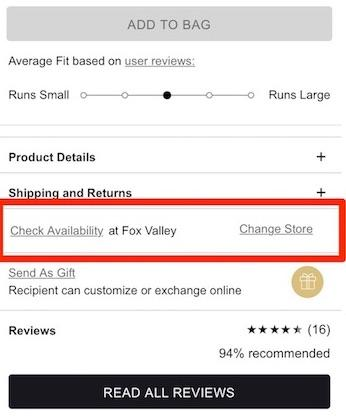Mobile eCommerce: Being able to check for availability in store near you is very convenient.