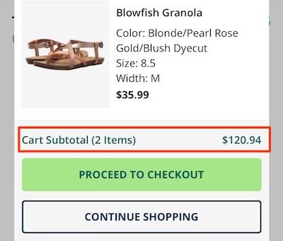 Mobile eCommerce: cart subtotal displayed below items