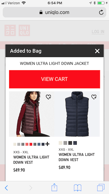 Mobile eCommerce: Add to cart uses pop-in
