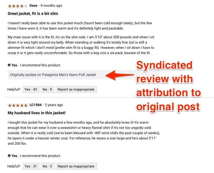 Syndicated reviews should always have an attribution and link to their original post.