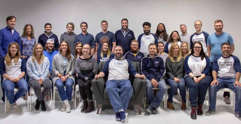 2018 Inflow Company Photo of 28 people smiling at the camera.