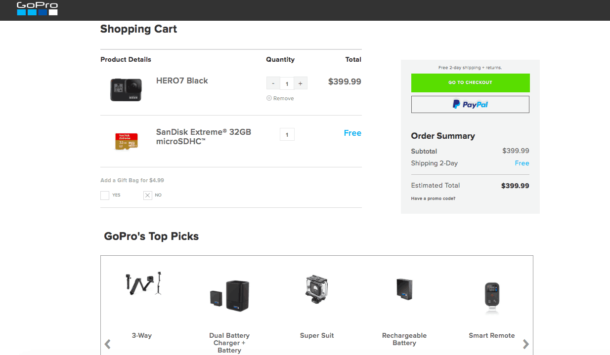 GoPro's shopping cart has the same repetitive information as the modal