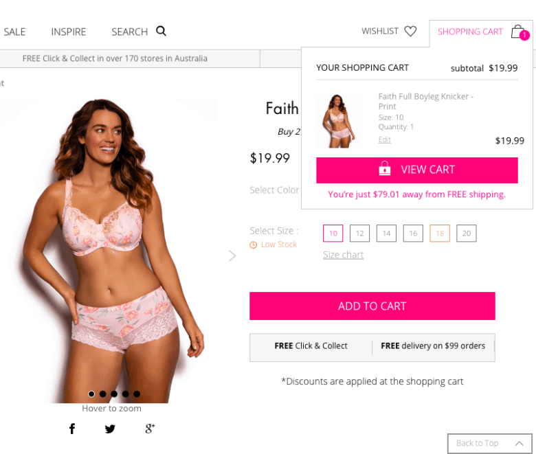 On Bras N Things, your product gets added to your cart but you can keep on shopping.