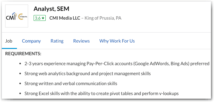eCommerce SEO and SEM hiring: Excel skills are necessary for an SEM analyst