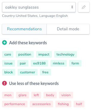 A sample of how Ryte suggests keywords and phrases to add into your content.