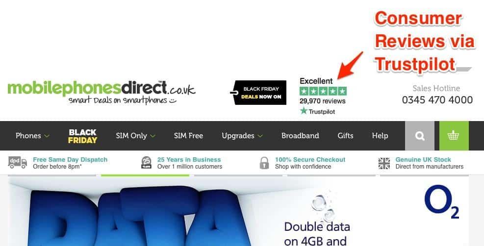 Consumer reviews via Trustpilot.