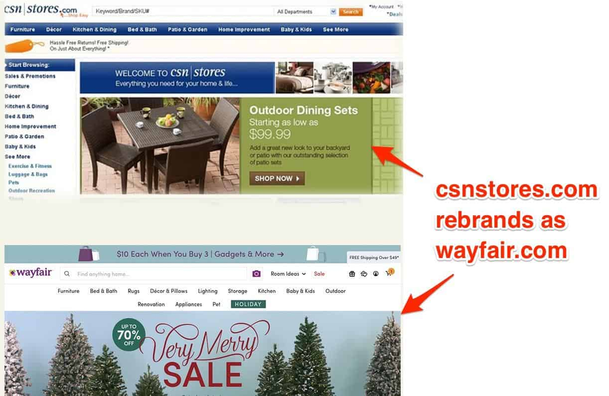 Two homepages of Csnstores.com and wayfair.com. Top, Csnstores.com consists of a menu across the top and the same menu along the left side with a series of photographs and two sections of text in the center. Bottom, wayfair.com consists of a single menu along the top and one image with text in the center of the page.