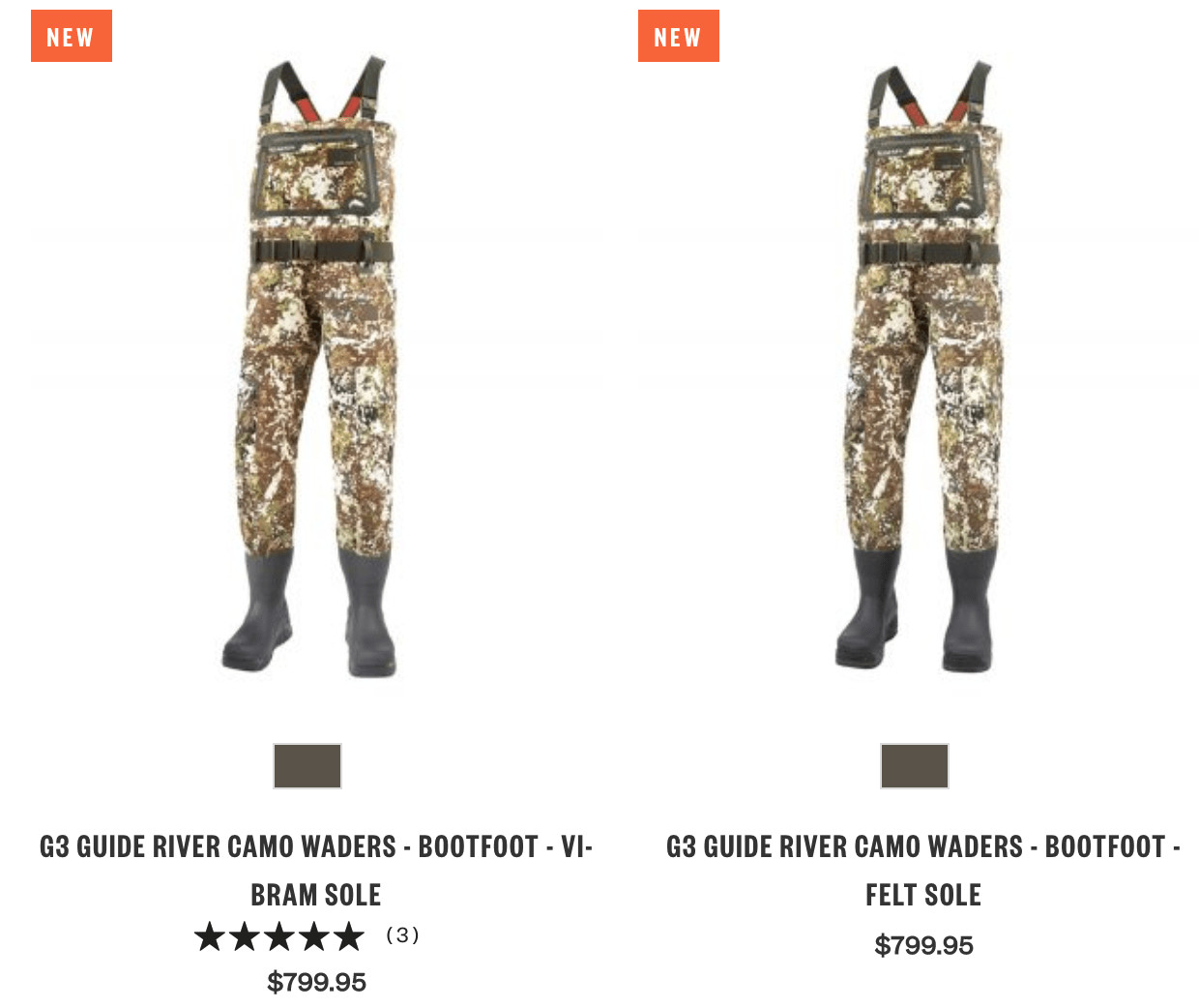 eCommerce branding: Simms Fishing features many waders in the $799 range.