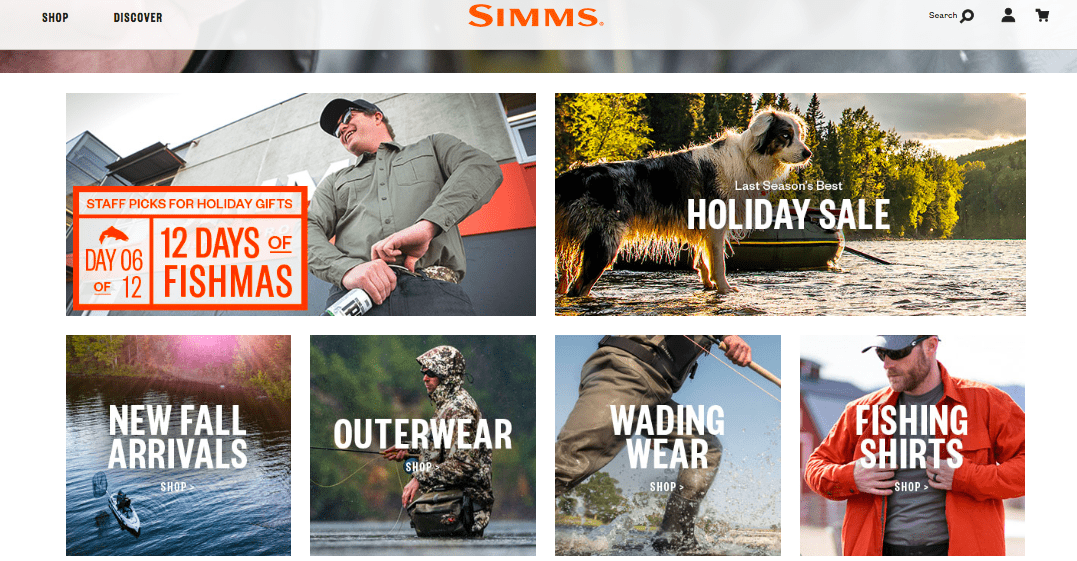 Simms homepage with six photographs with text for categories as follows: 12 days of Fishmas, Holiday sale, New fall arrivals, outerwear, wading wear, fishing shirts. Simms at the top of the page and 12 days of Fishmas are in orange text.