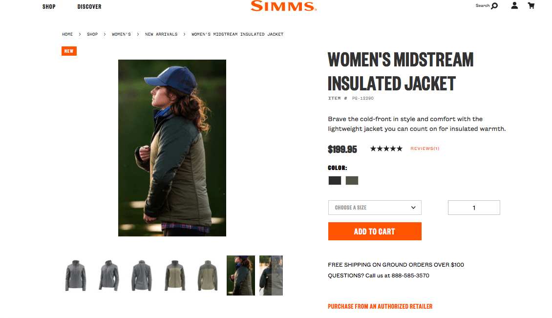 eCommerce branding: each page on Simms Fishing has a cohesive brand look and feel.