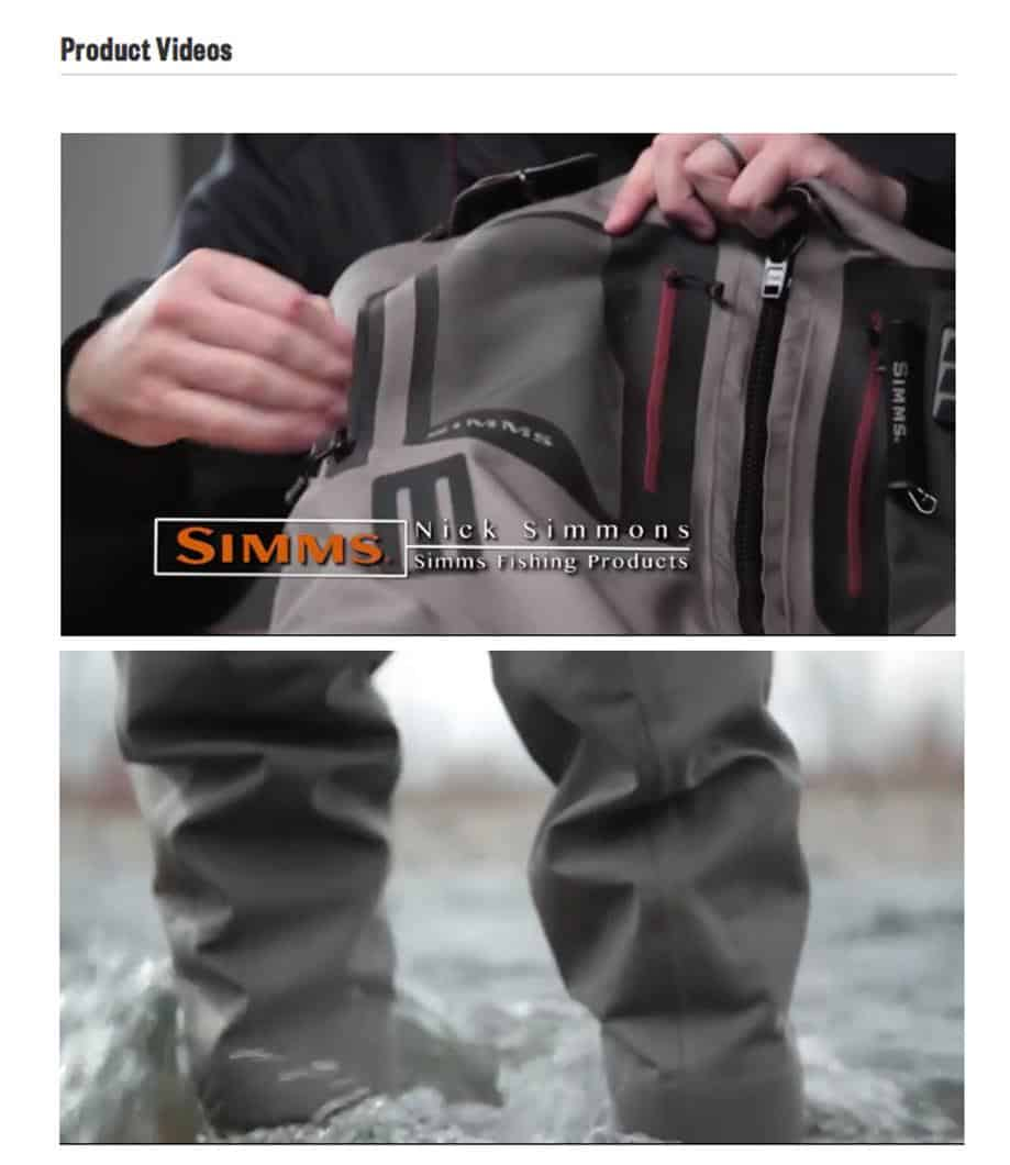 eCommerce branding: Simms Fishing product videos mix images of an employee explaining the product along with shots of the product in action.