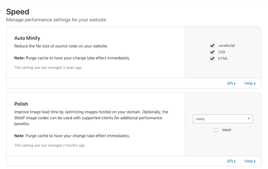 Manage speed performance settings within Cloudflare too.