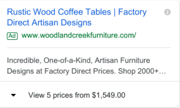 eCommerce Ads Strategy: Be sure to utilize the 'price' extension because it adds more value to your site.