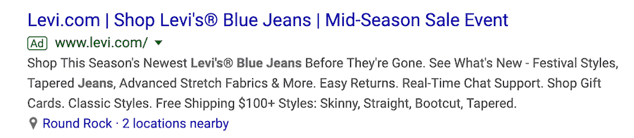 Google search result text ad with the title Levi.com, shop Levi's Blue Jeans, Mid-season Sale Event followed by three lines of text.