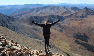 Olivia Smith on Mount Elbert in Colorado.