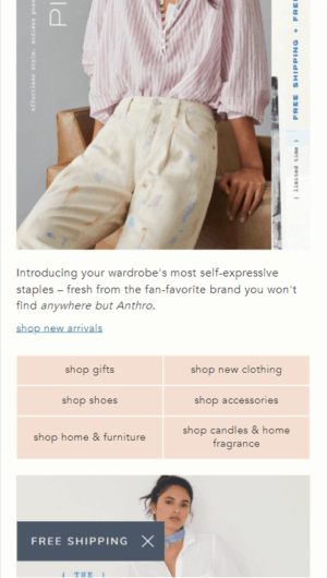 Anthropologie's Mobile Homepage