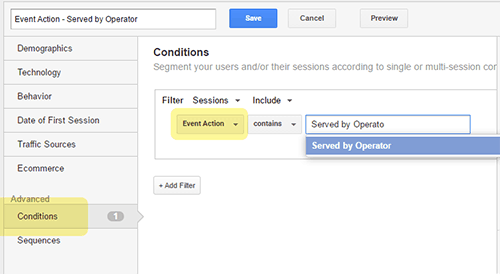 Event Action - Served by Operator: Custom event actions can be set.