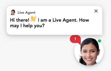 "Live Agent: ""Hi there! I am a Live Agent. How may I help you?"" (With a headshot of a ""real person"" seems to attract more attention.)"