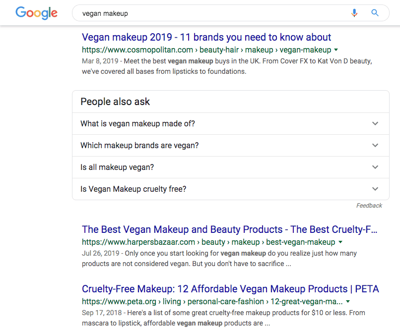 "Google search results for ""vegan makeup"""